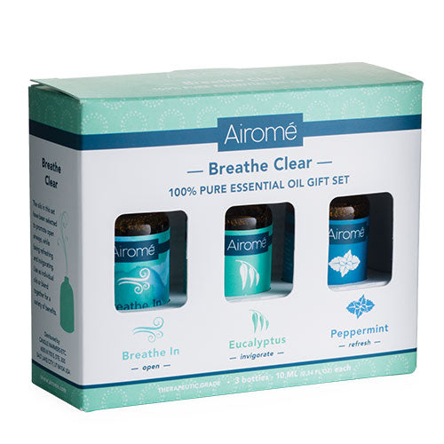 An aromatherapy gift set. The set includes 100% pure essential Breathe In (open),  Eucalyptus (invigorate) and Peppermint (refresh) 10 ML bottles.