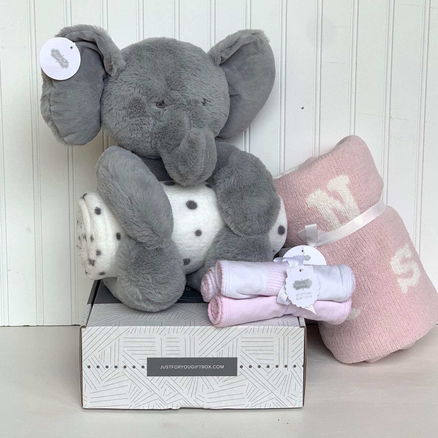 Adorable Mud Pie Plush Elephant with embroidered facial features.  Rolled soft polka dot blanket included  Pink Chenille ABC Blanket  3 rolled pink burp cloths