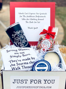 This Box Includes: Customized Swig Tumbler Strong Women Towel  8.5 oz. Capri Blue Volcano Candle 5.0 oz. Oh Sugar Chocolate Chip Cookies