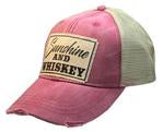 Sunshine & Whiskey  These Vintage Life trucker hats are the cutest hats around!  Made of breathable fabric, our hats provide a relaxed everyday fit.  Features an adjustable snapback strap. Unisex hat.  Distressed red.