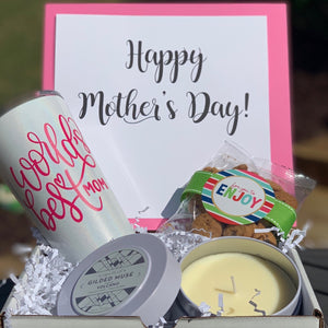This Mother's Day Box Includes:  Personalized White Corkcicle Tumbler (Can request removable vinyl) Capri Blue 12.5 oz.  Volcano Candle 1.5 oz. Oh Sugar Chocolate Chip Cookies