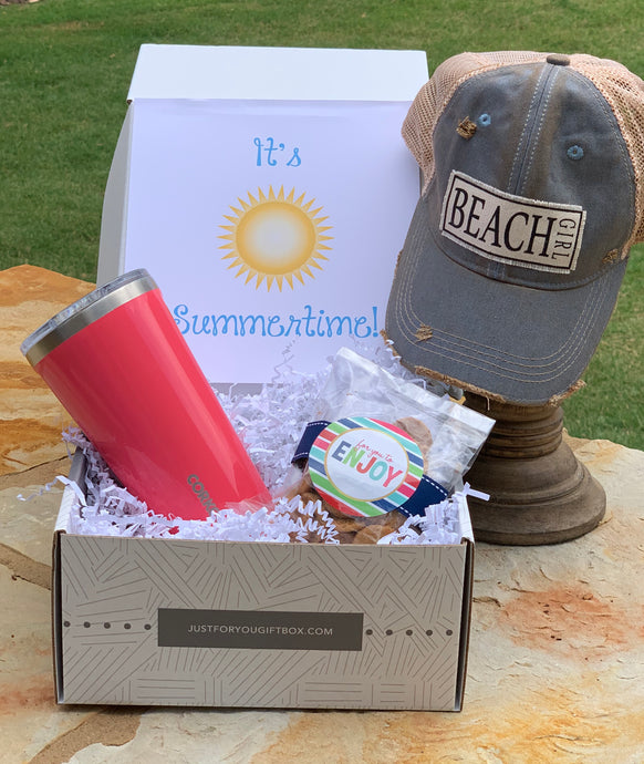 This Box Includes:  Beach Girl Vintage Hats Corkcicle Flamingo Cup Oh Sugar Chocolate Chip Cookies 2 oz