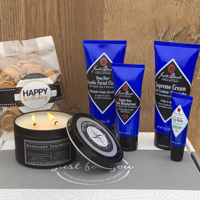 Jack BlackFace Cleanser Jack Black Face Scrub Jack Black Face Moisturizer Jack Black Lip Balm Oh Sugar Chocolate Chip Cookies 2 oz Mahogany Teakwood Candle 6.2 oz (Fresh Manly Scent)