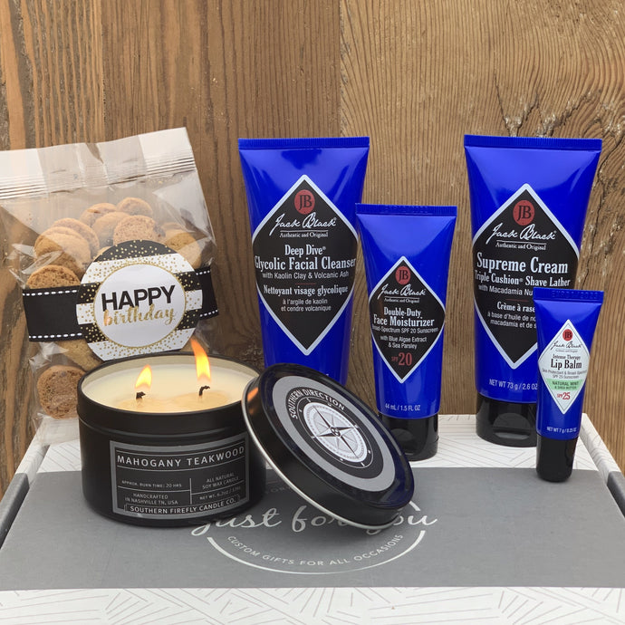 Jack Black Shave Gift Set 6.2 oz. Mahogany Teakwood Candle Oh Sugar Chocolate Chip Cookies 2.5 oz