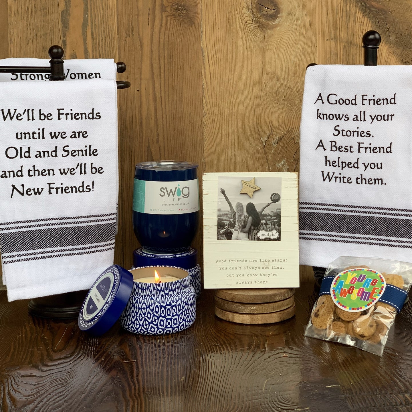 We'll Be Friends Until We Are Old & Senile towel (Choose Preferred Saying) Capri Blue Volcano Candle 8.5 oz Navy Blue Swig Wine Cup Mud Pie Friends Are Like Stars Frame Oh Sugar Cookies 2.5 oz