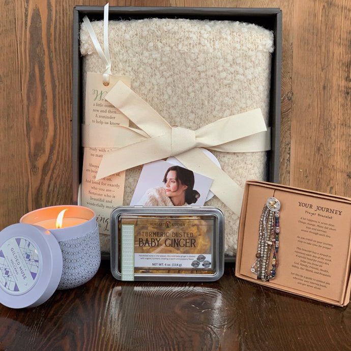 Cream Giving Shawl 12.5 oz Capri Blue Volcano Candle Prayer Bracelet Organic Turmeric Dusted Ginger Bites