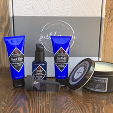 Load image into Gallery viewer, Jack Black Beard Essentials Gift Set Beard Wash, Beard Lube Conditioning Shave, Beard Oil Southern Direction Man Candle