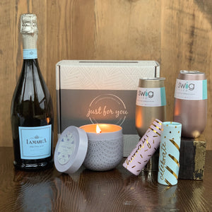 Swig- 6oz. Stemless (Gold or Rose Gold) 12.5 oz Capri Blue Volcano Candle Hooray or Celebrate Matches  Champagne Not Included