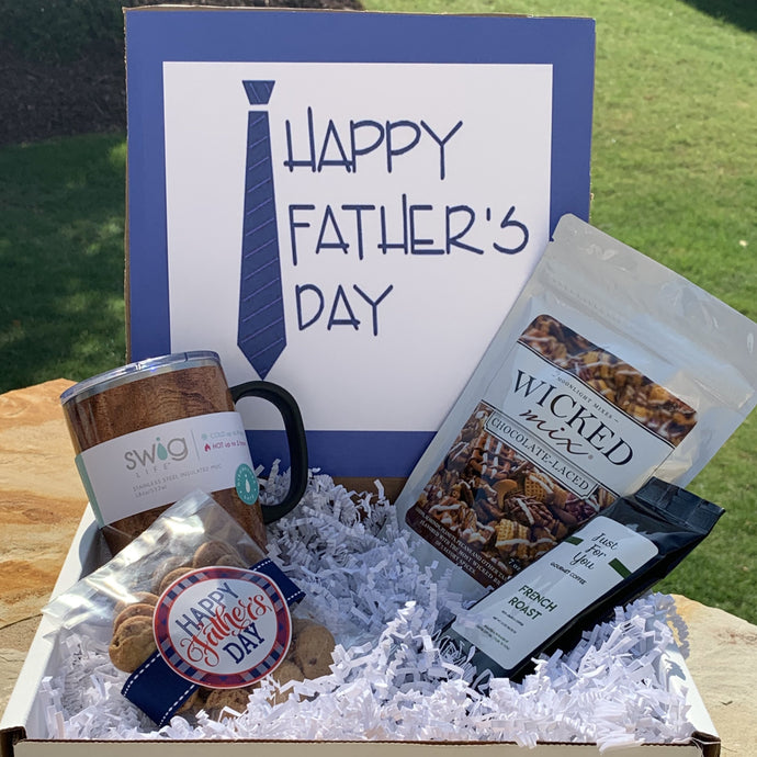 This Father's Day Box Includes: Swig Coffee Mug French Roast Coffee Wicked Mix Laced With Chocolate Oh Sugar Chocolate Chip Cookies- 5 oz