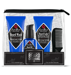 Jack Black Beard Grooming kit is designed for all types of facial hair, this four-step grooming routine cleanses, conditions, softens, and grooms facial skin and hair.