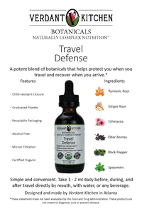 Our Travel Defense 2 fl oz is designed to help with a potent blend of time tested organic botanicals in an organic vegetable glycerine base. Take it daily before, during and after travel. Simple and convenient you can take it directly by mouth or add it to water or your choice of hot or cold beverages.