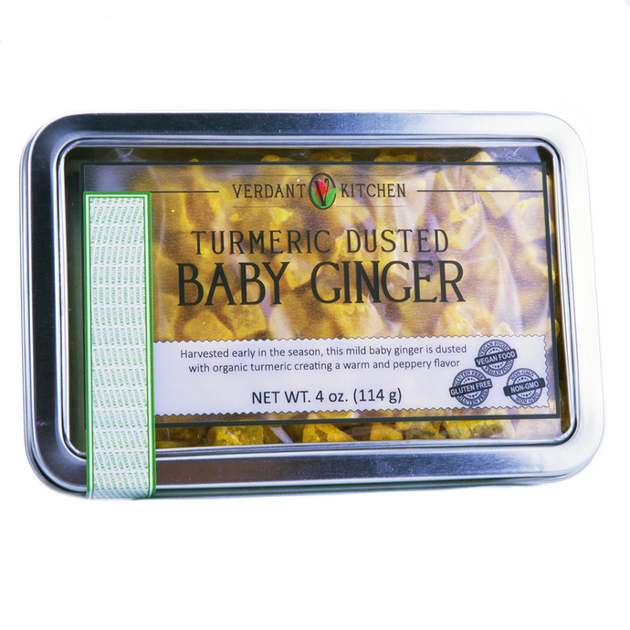 The soft, warm spice and delicate texture of baby ginger are complemented by the brilliant color, aroma, and taste of our USDA Organic, raw food dehydrated USDA Organic turmeric.