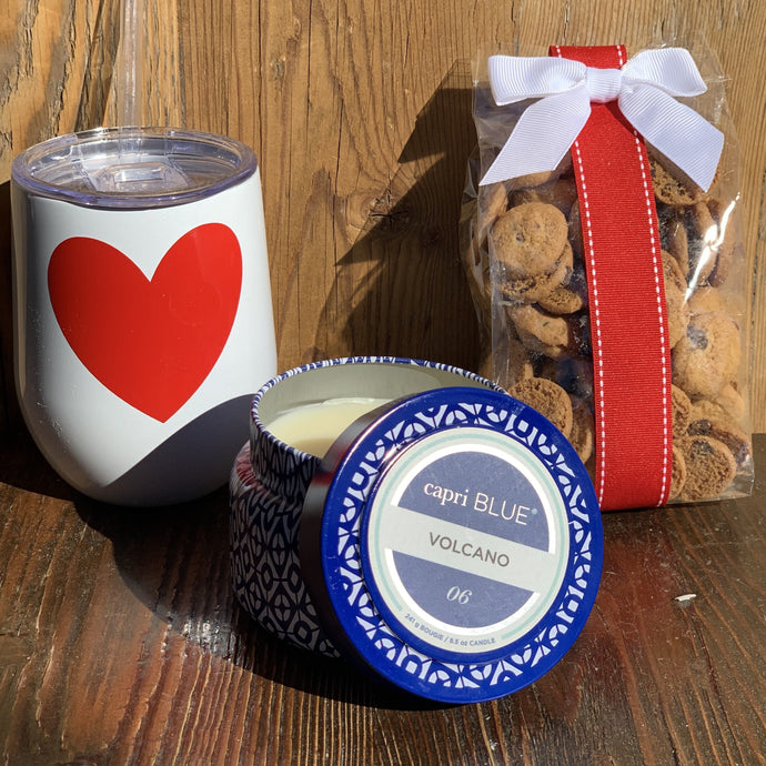 This Box Includes:  Custom Heart Wine Tumbler 8.5 oz Volcano Scent, Capri Blue Candle 5 oz Oh Sugar Chocolate Chip Cookies