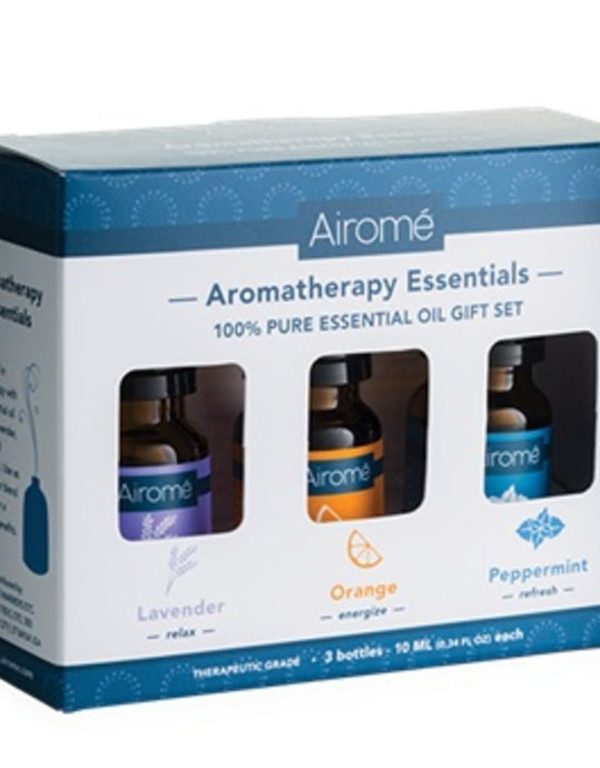 An aromatherapy gift set.  The set  includes 100% pure essential oils, lavender (relax)  orange (energize) and peppermint (refresh) 10 ML bottles.
