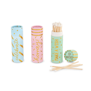 These colorful tube matches come in 3 different colors and styles.  Light Blue Celebrate, Light Pink Hooray and Light Green Make a Wish Matches.