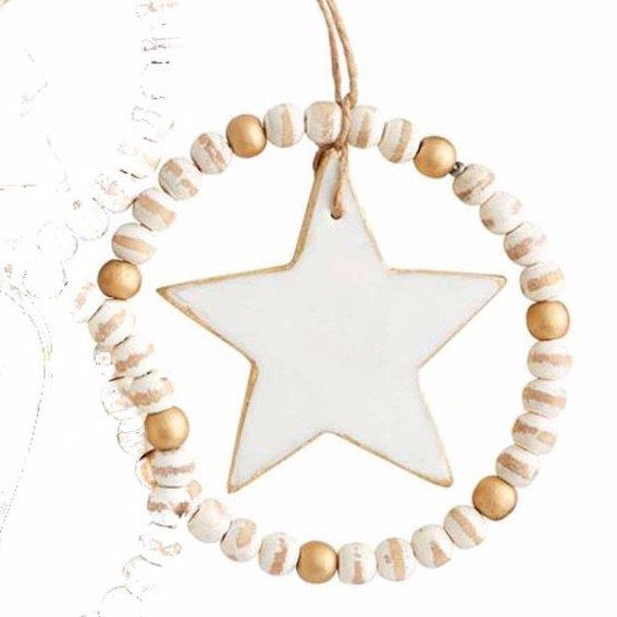 Mud Pie Star Beaded Marble Ornament