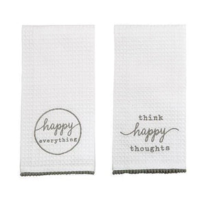 "Each waffle weave towel by Mud Pie features an embroidered inspiration that reminds us to be happy, and is trimmed with pom-pom detail. Includes ""Think Happy Thoughts"" & ""Happy Everything"" Towels."