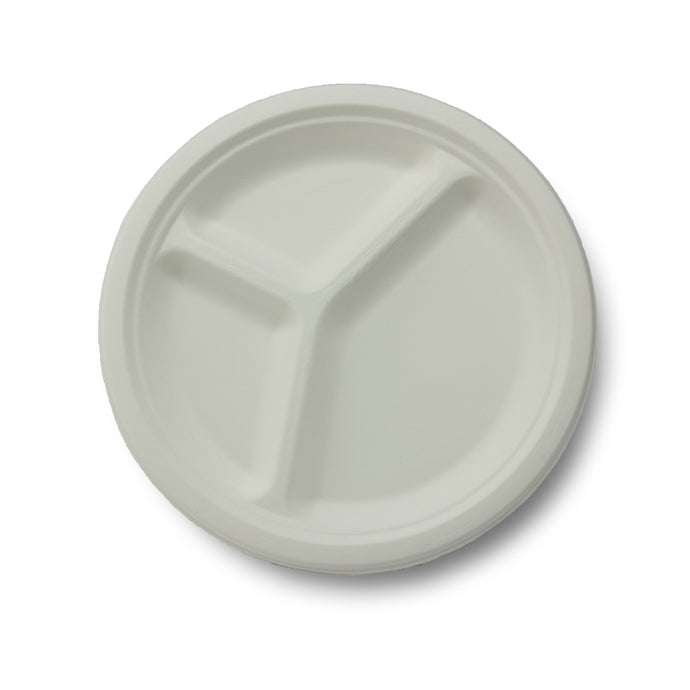 Stalkmarket 100% Compostable Sugar Cane Fiber 3-Compartment Plate, 10-Inch, 500 Count Case - TheLotusGroup - Brand You Can Trust