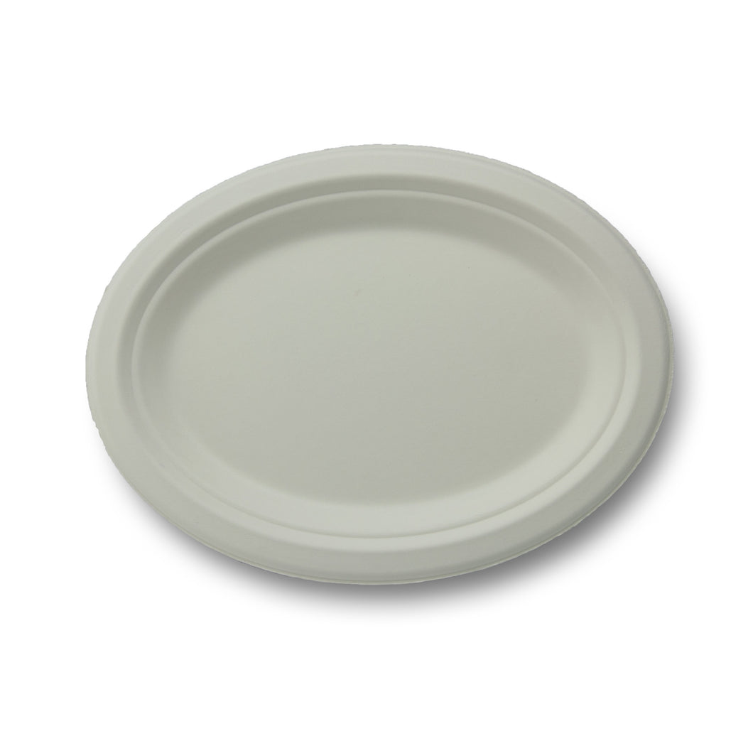 Stalkmarket 100% Compostable Sugar Cane Fiber Oval Platter, 10.5-Inch, 500-Count Case - TheLotusGroup - Brand You Can Trust