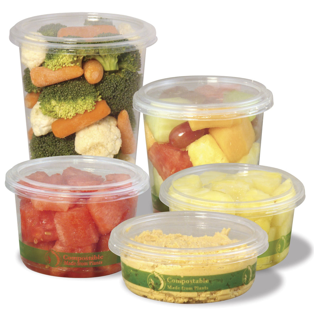 Jaya 100% Compostable Clear PLA Deli Container Lid, 8/12/16-ounce, 600-count case - TheLotusGroup - Brand You Can Trust