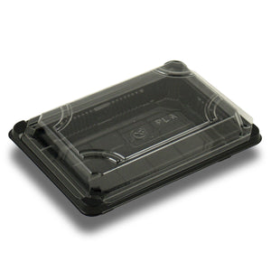 Jaya Compostable PLA Sushi Tray with Lid Combo 7''x4-7/8''x1-3/4'' (Case of 300) - TheLotusGroup - Brand You Can Trust