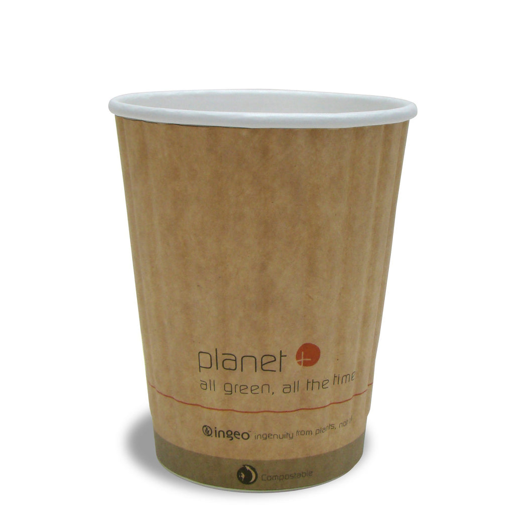 Planet + 100% Compostable PLA Laminated Double Wall Insulated Hot Cup, 12-Ounce, 1000-Count Case - TheLotusGroup - Brand You Can Trust