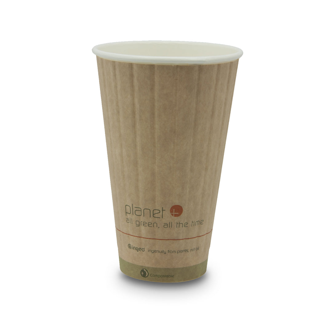Planet + 100% Compostable PLA Laminated Double Wall Insulated Hot Cup, 16-Ounce, 600-Count Case - TheLotusGroup - Brand You Can Trust