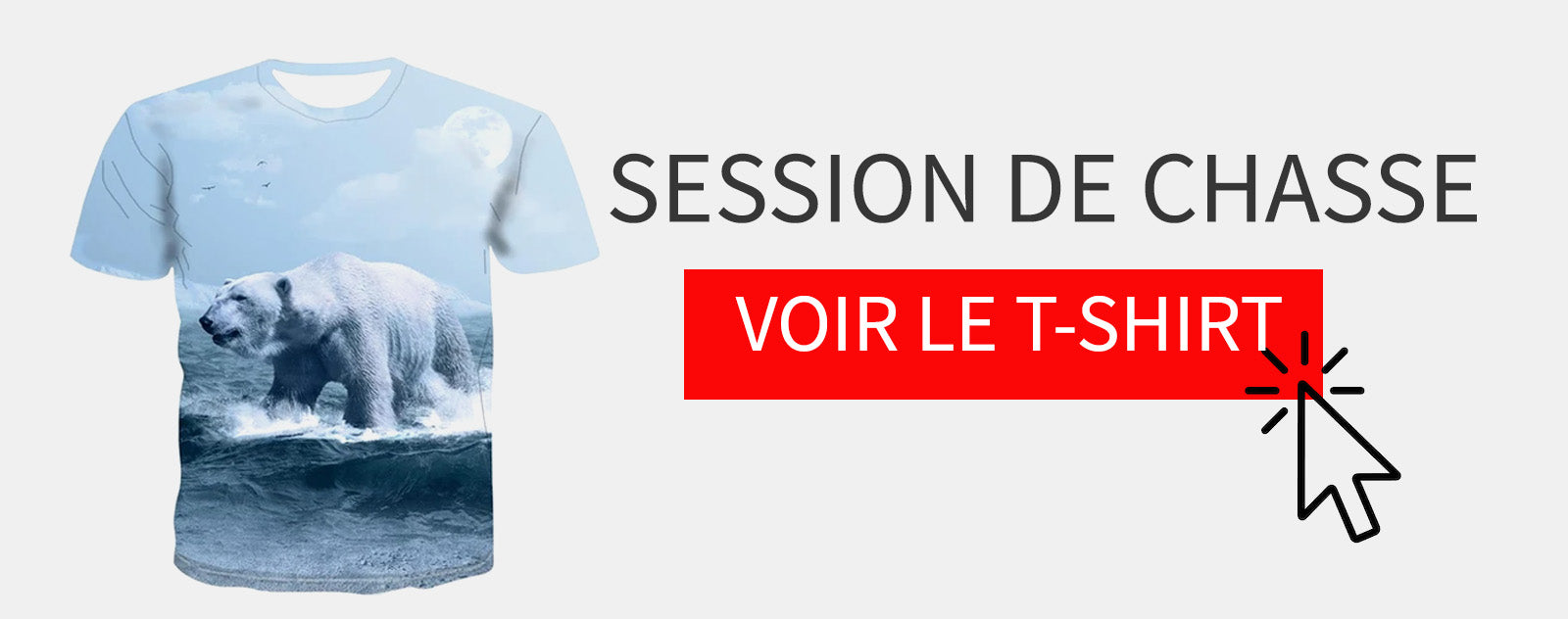 T-Shirt Ours Blanc qui Chasse