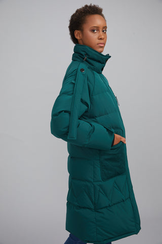 Huncia winter collection women's navy green goose down jacket