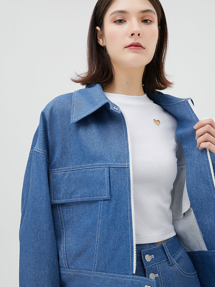 White Zipper Retro Denim Jacket