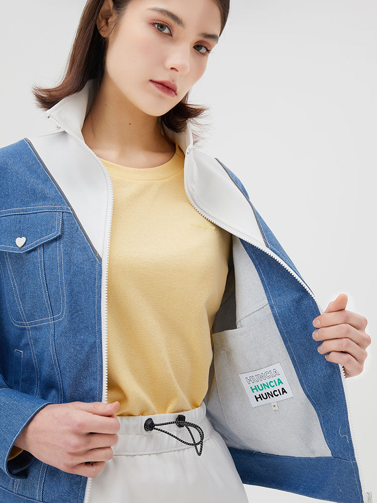 Stand Collar Splicing Denim Jacket