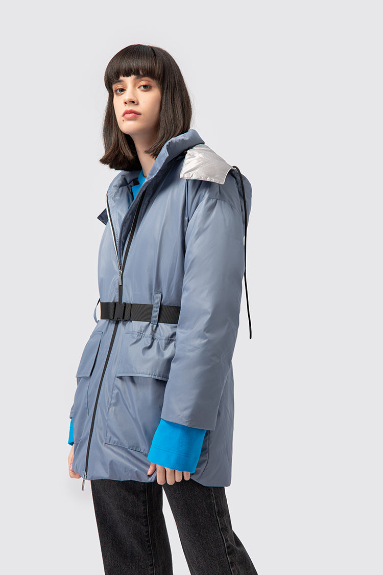 Belted Stand Collar Parka