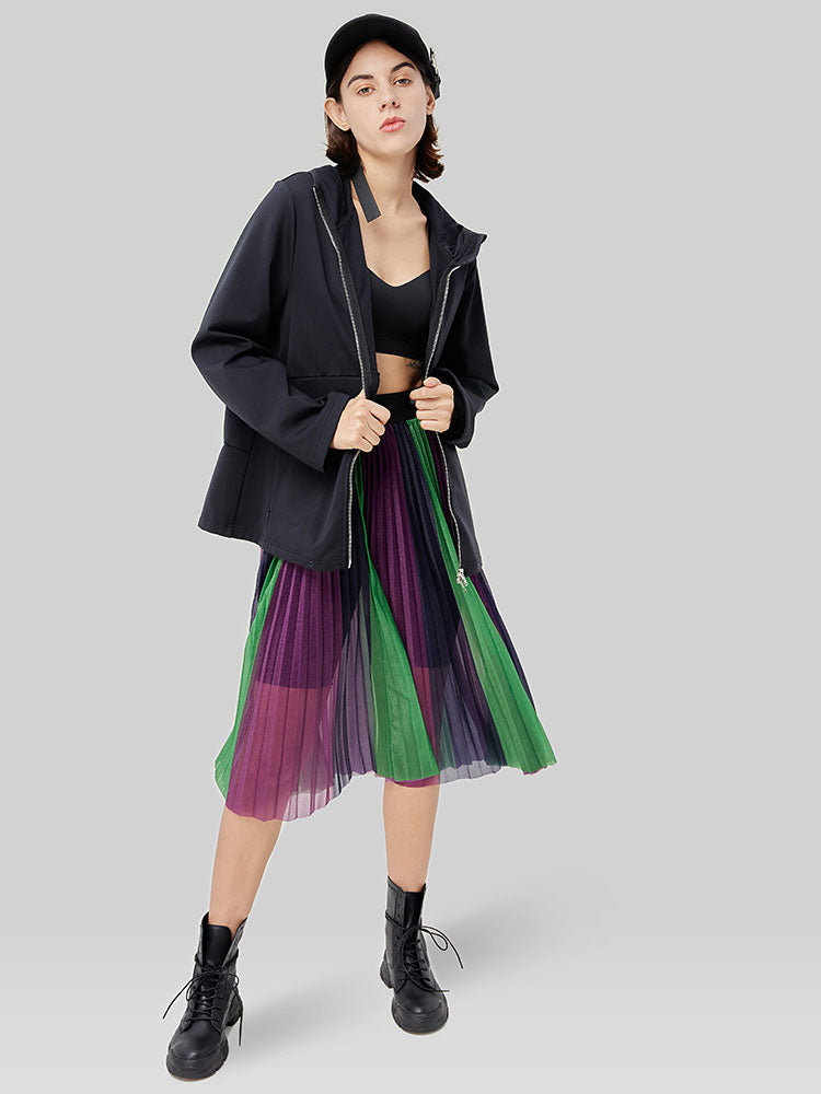 Transparent Color-Blocked Pleated Skirt