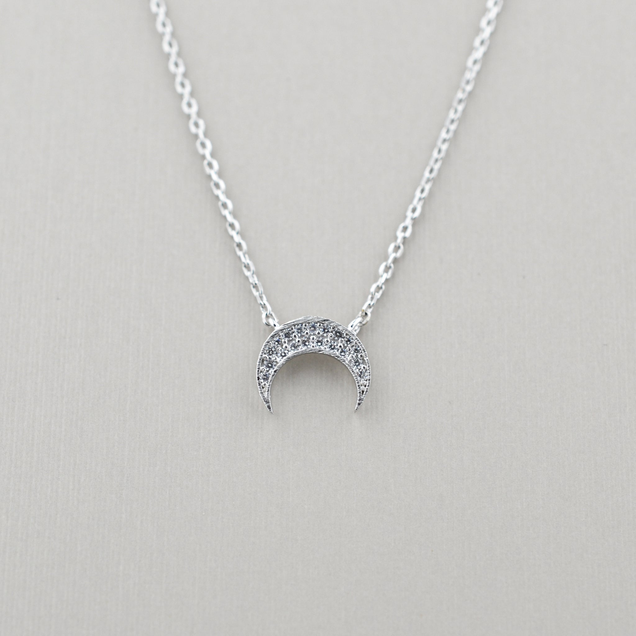 Aurora Pave Crescent Necklace
