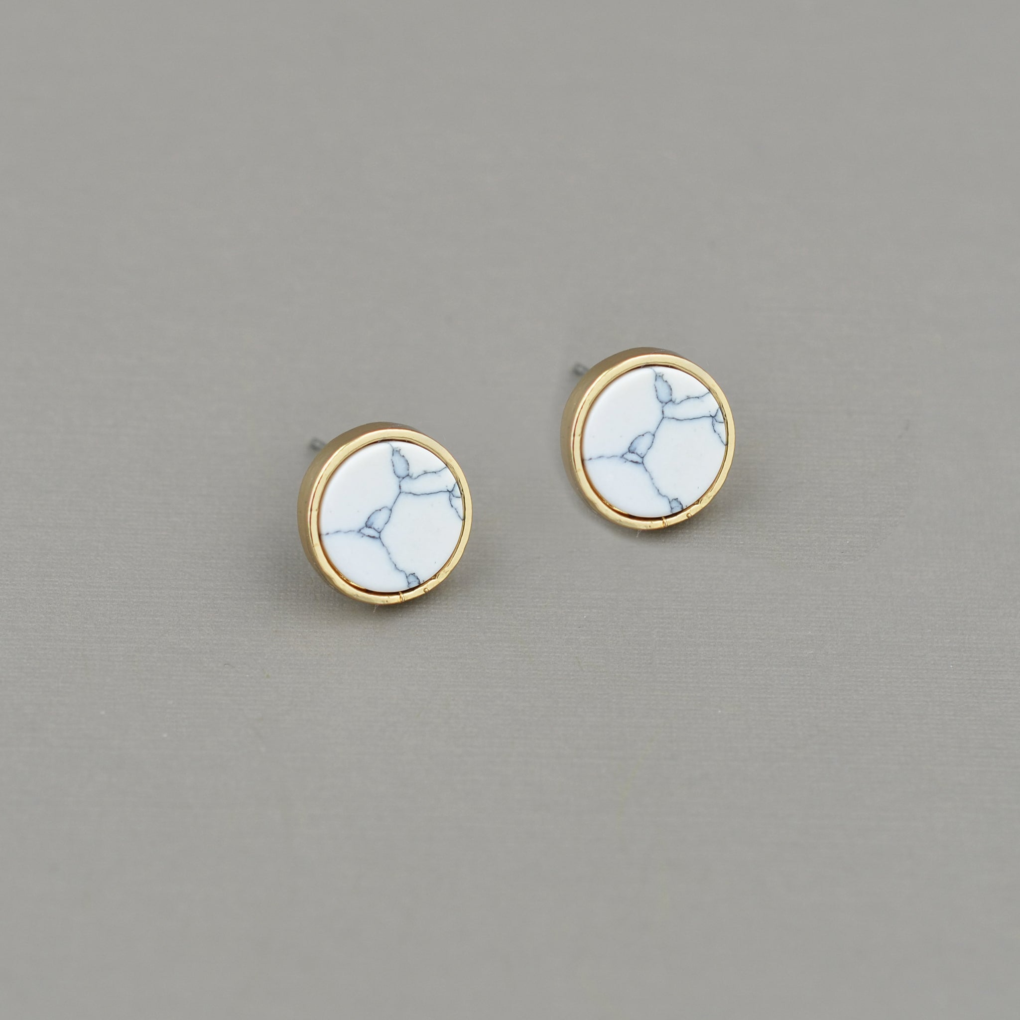 Marble Post Earrings