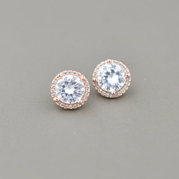 Halo Cubic Zirconia Posts