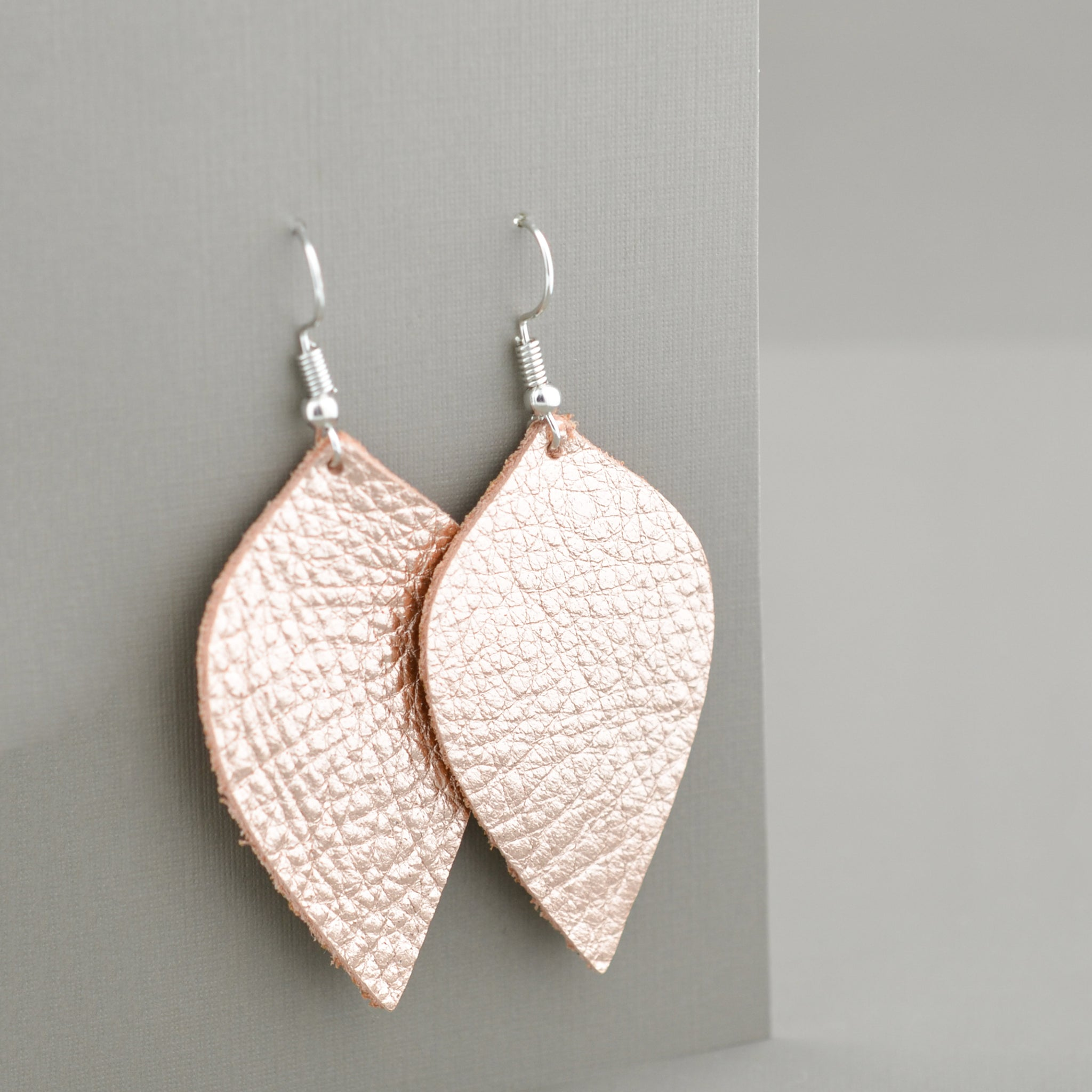 Rose Gold Leather Leaves
