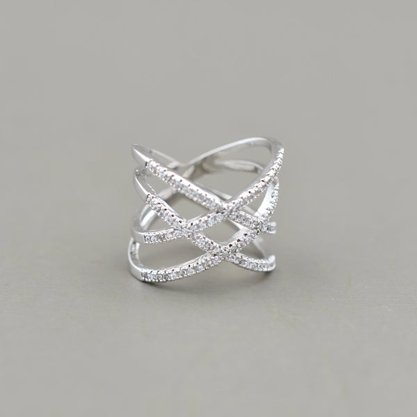 Pave Double X Ring