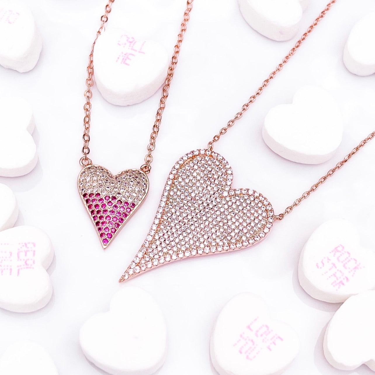 Modern Pave Heart Necklace
