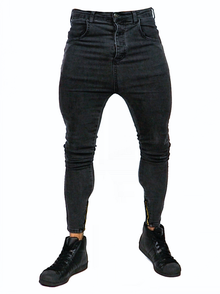 Close Cut Jeans - Rough Washed Black