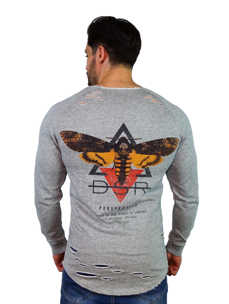Death Moth 2.0 Long Sleeve - Marl Grey