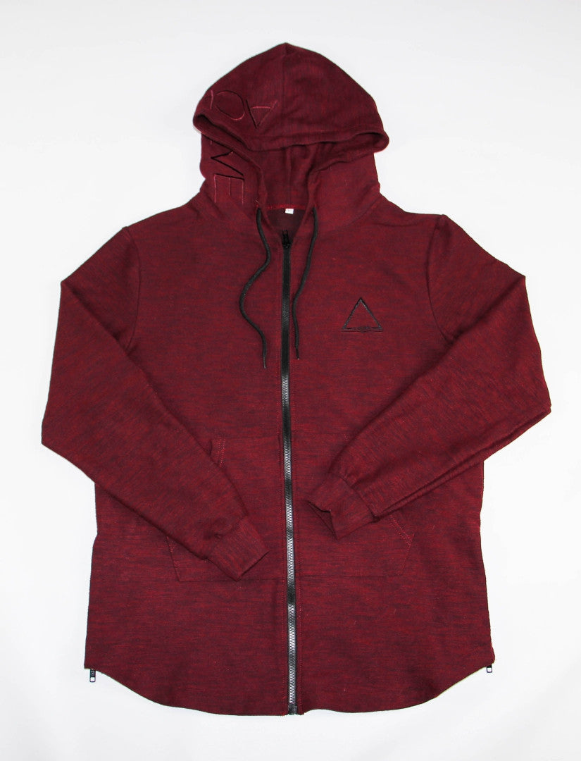 Ambition Triple Zipped Hoodie - Dark Crimson