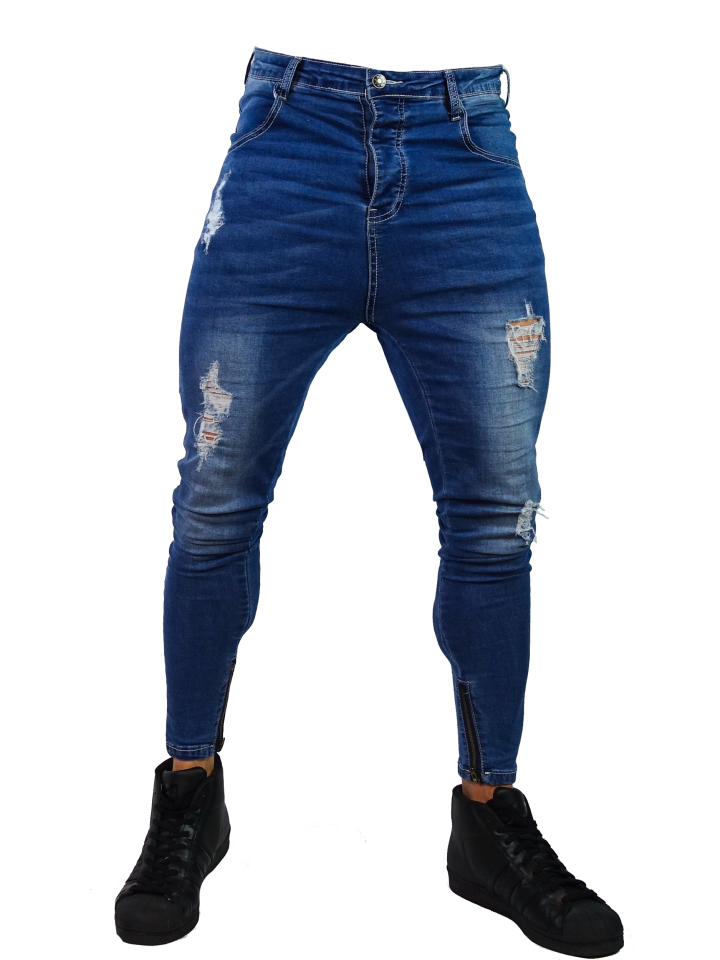 Close Cut Jeans - Rip Distressed Stone Wash Blue u2013 DES!RE BRAND
