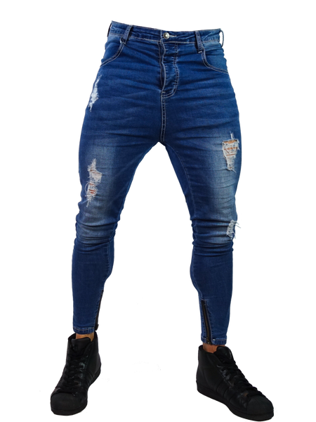 Close Cut Jeans - Rip Distressed Stone Wash Blue
