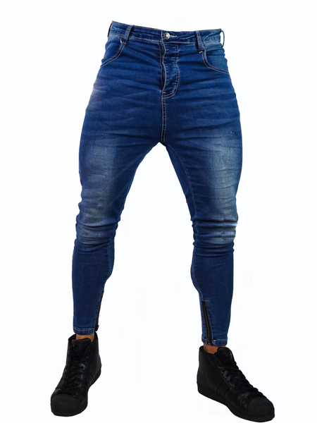 Close Cut Jeans - Stone Wash Blue