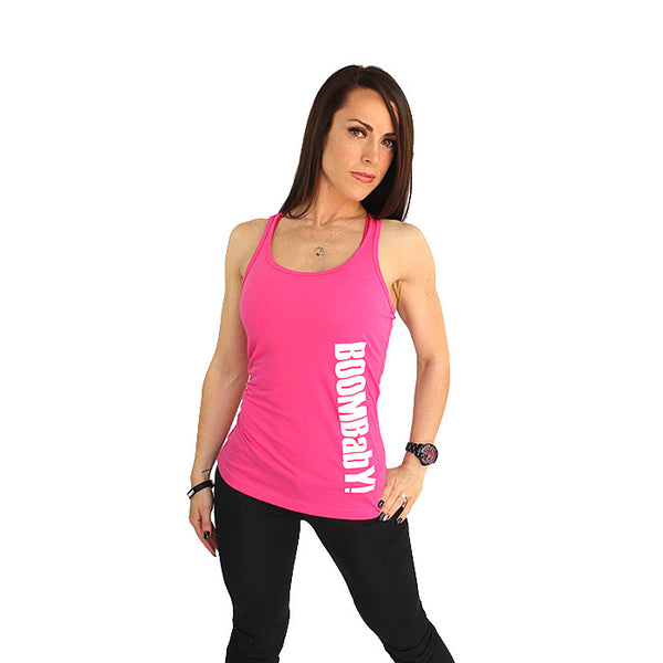 BOOMBabY! Vertical Ladies Vest - Pink and White