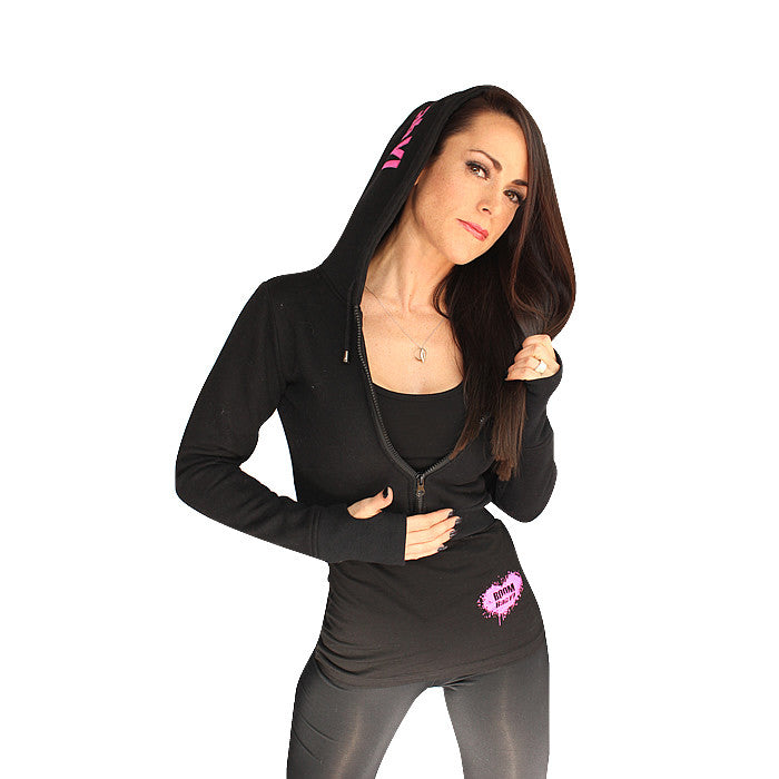 DESIRE Ladies Cropped Hoodie - Black and Pink