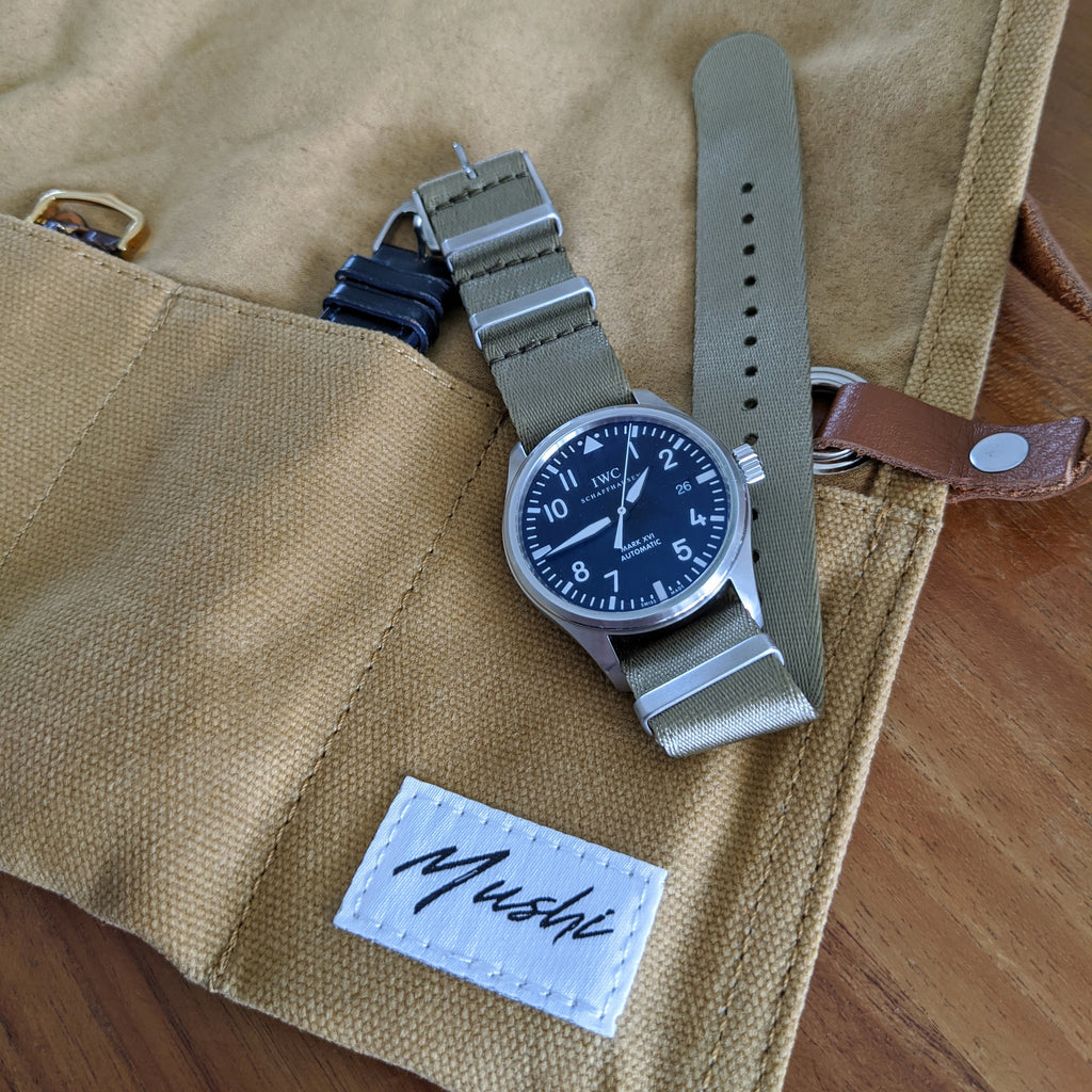 Khaki Canvas & Suede Watch Roll - Mushiwatchstraps