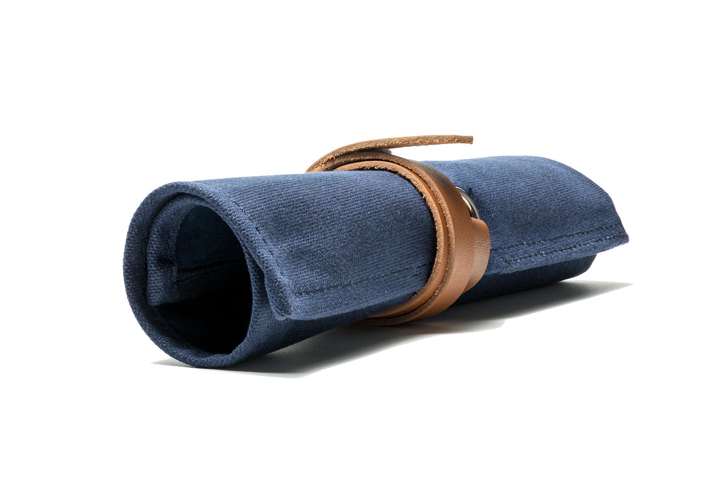 Blue Canvas & Suede Watch Roll - Mushiwatchstraps