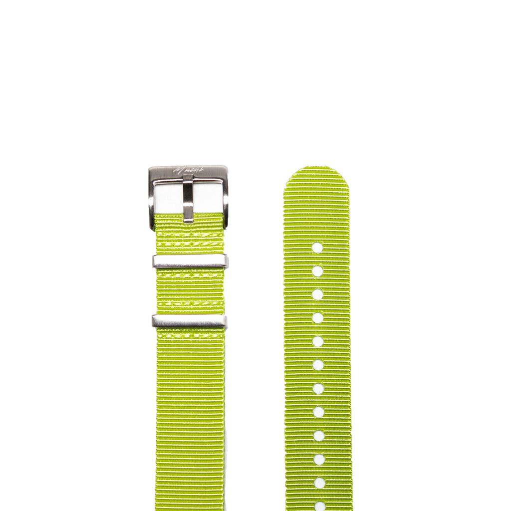 Lime Green Fluted NATO Strap - Mushiwatchstraps